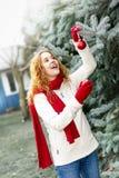 Mujer que adorna el árbol de navidad afuera Imagenes de archivo