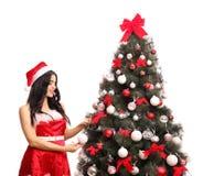 Mujer que adorna un árbol de navidad Imagenes de archivo