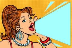 Mujer que anuncia descuento La señora grita las protestas stock de ilustración