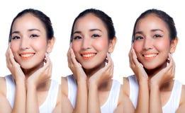 Mujer que aplica blanco de la piel por concepto de la belleza del paso fotos de archivo libres de regalías