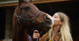 Mujer que besa el caballo en 4k estable metrajes