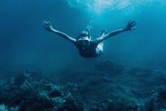 Mujer que bucea entre alga marina Fotografía de archivo libre de regalías