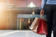 Mujer que camina con los panieres en fondo de la alameda de compras