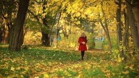 Mujer que camina en el parque del otoño metrajes