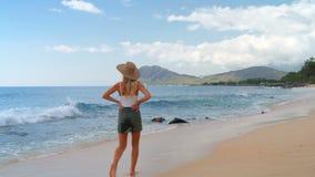 Mujer que camina en la playa 4k almacen de video