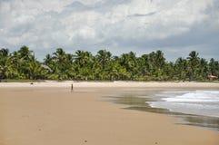 Mujer que camina en la playa (Taipu de Fora, el Brasil) Imagenes de archivo