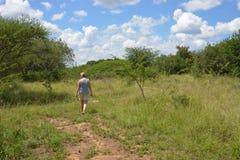 Mujer que camina en naturaleza con el cielo del bleu y el cl blanco Imagen de archivo libre de regalías