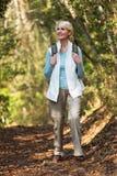Mujer que camina la montaña Imagenes de archivo