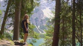 Mujer que camina por el lago almacen de video