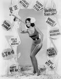 Mujer que celebra Año Nuevo Fotos de archivo