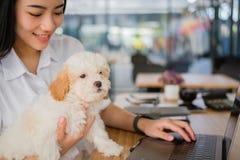 Mujer que celebra el perro adorable en el restaurante del café adolescente femenino s Imagen de archivo libre de regalías