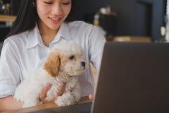 Mujer que celebra el perro adorable en el restaurante del café adolescente femenino s Foto de archivo libre de regalías