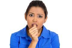 Mujer que chupa el pulgar Fotos de archivo libres de regalías
