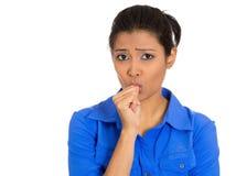 Mujer que chupa el pulgar Imágenes de archivo libres de regalías