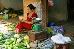 Mujer que cobra para arriba Foto de archivo libre de regalías