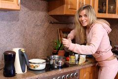 Mujer que cocina la cena Imagen de archivo