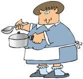 Mujer que cocina la sopa ilustración del vector