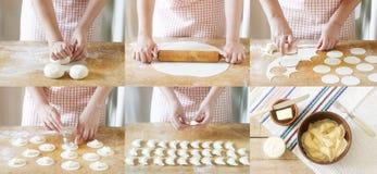 Mujer que cocina las bolas de masa hervida Collage de fotos con la producción de vareniki Estilo rústico, foco selectivo fotografía de archivo