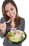 Mujer que come la ensalada Fotografía de archivo