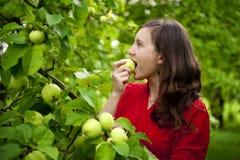 Mujer que come la manzana Fotografía de archivo libre de regalías
