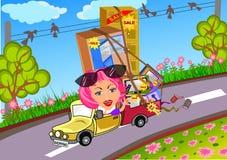 Mujer que conduce el coche después de hacer compras libre illustration