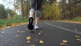 Mujer que corre en el parque del otoño almacen de video