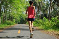 Mujer que corre en rastro tropical del bosque de la mañana Imagen de archivo