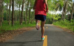 Mujer que corre en rastro tropical del bosque de la mañana Foto de archivo libre de regalías