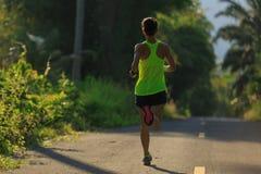 Mujer que corre en rastro tropical del bosque de la mañana Fotos de archivo libres de regalías