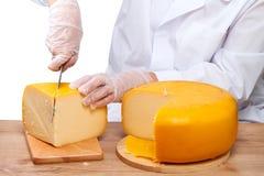 Mujer que corta un pedazo de queso imagen de archivo libre de regalías