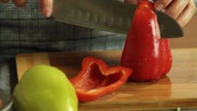 Mujer que corta verduras mientras que cocina el quesadilla de la patata dulce almacen de metraje de vídeo