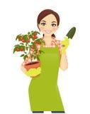 Mujer que cultiva un huerto ilustración del vector