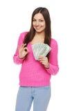 Mujer que dólar muestra el dinero Foto de archivo