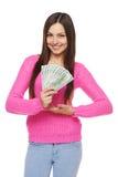 Mujer que dólar muestra el dinero Imágenes de archivo libres de regalías