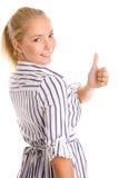 Mujer que da los pulgares para arriba Fotos de archivo libres de regalías