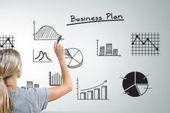 Mujer que dibuja diversos gráficos del plan empresarial Fotografía de archivo libre de regalías