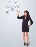 Mujer que dibuja iconos sociales de la red en whiteboard Foto de archivo libre de regalías