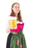 Mujer que dice alegrías a usted Foto de archivo libre de regalías