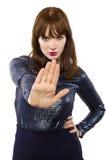 Mujer que dice no con gesto de mano Imágenes de archivo libres de regalías