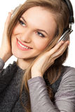 Mujer que disfruta de música Fotografía de archivo