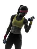 Mujer que ejercita la silueta del entrenamiento del peso del entrenamiento de la aptitud imágenes de archivo libres de regalías