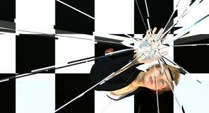 Mujer que empuja en el techo de cristal stock de ilustración