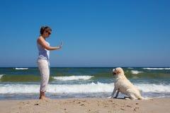 Mujer que entrena a un perro Imagen de archivo libre de regalías