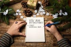 Mujer que escribe la lista de la resolución del Año Nuevo fotos de archivo libres de regalías