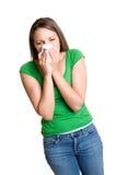 Mujer que estornuda Fotos de archivo libres de regalías