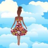 Mujer que flota en las nubes Foto de archivo