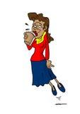 Mujer que flota mientras que bebe el café Imagen de archivo libre de regalías