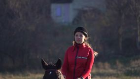 Mujer que galopa en un campo verde a caballo Cámara lenta almacen de video