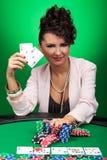 Mujer que gana en el póker Imágenes de archivo libres de regalías