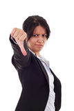 Mujer que gesticula los pulgares abajo Fotos de archivo libres de regalías